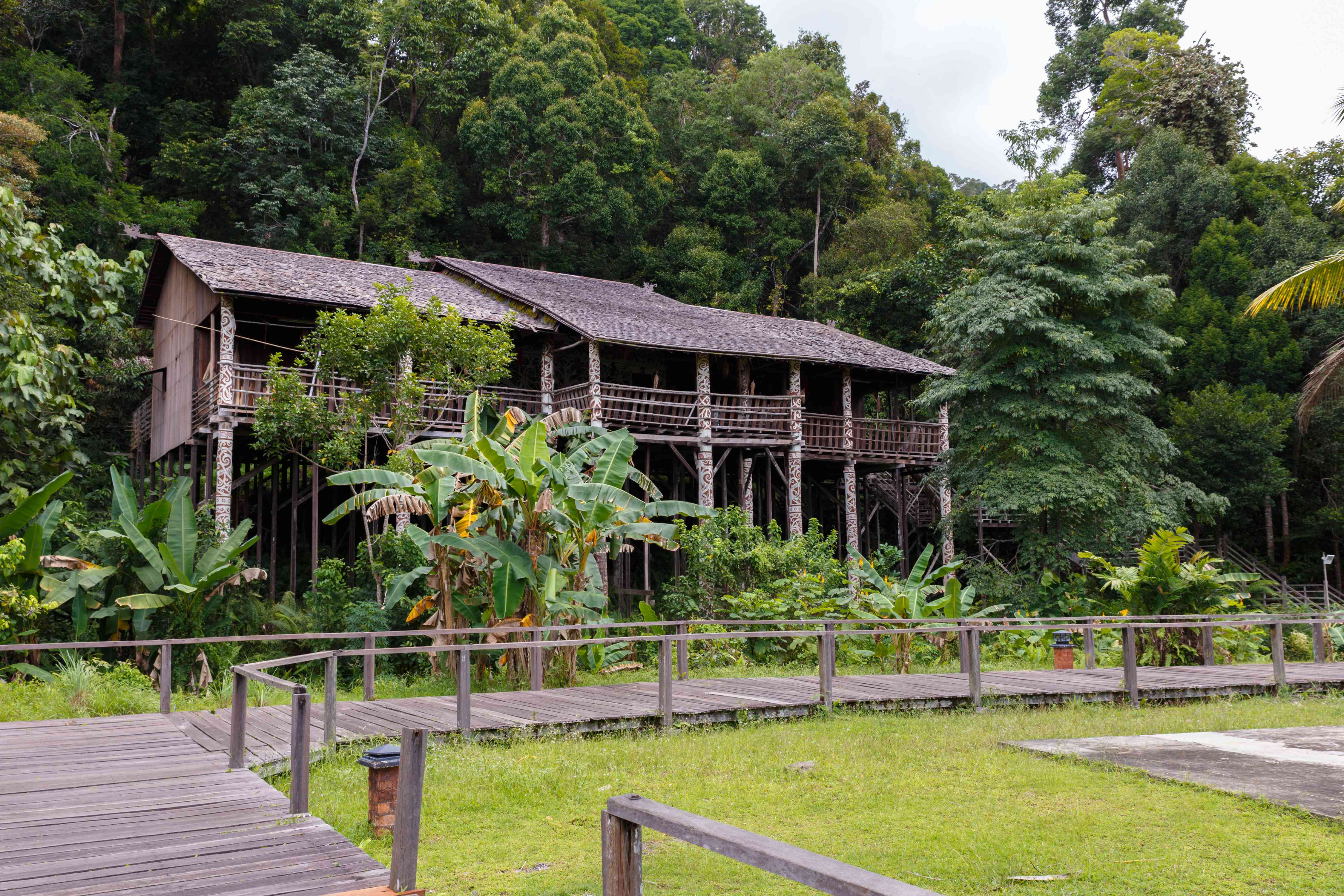 Outside of a model Orang Ulu longhouse in Borneo