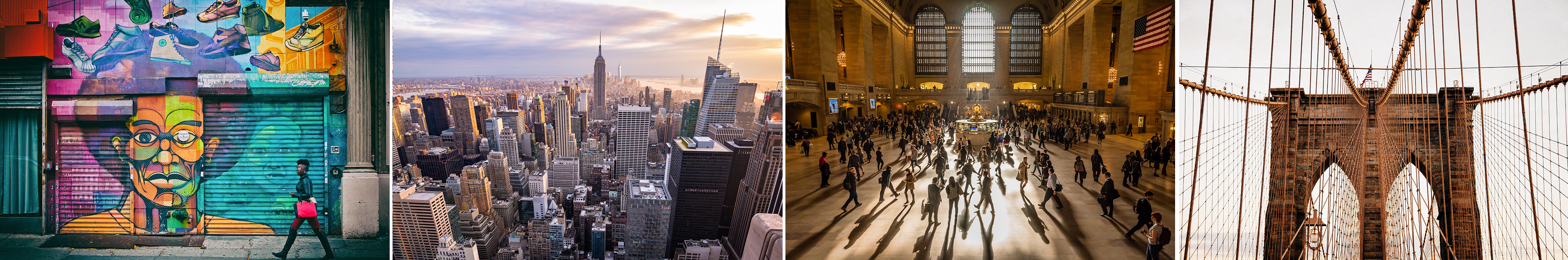 A collage of New York City pictures, including the Brooklyn Bridge, Grand Central Terminal, a skyline view with the Empire State Building, and a close up of a building with a mural on it