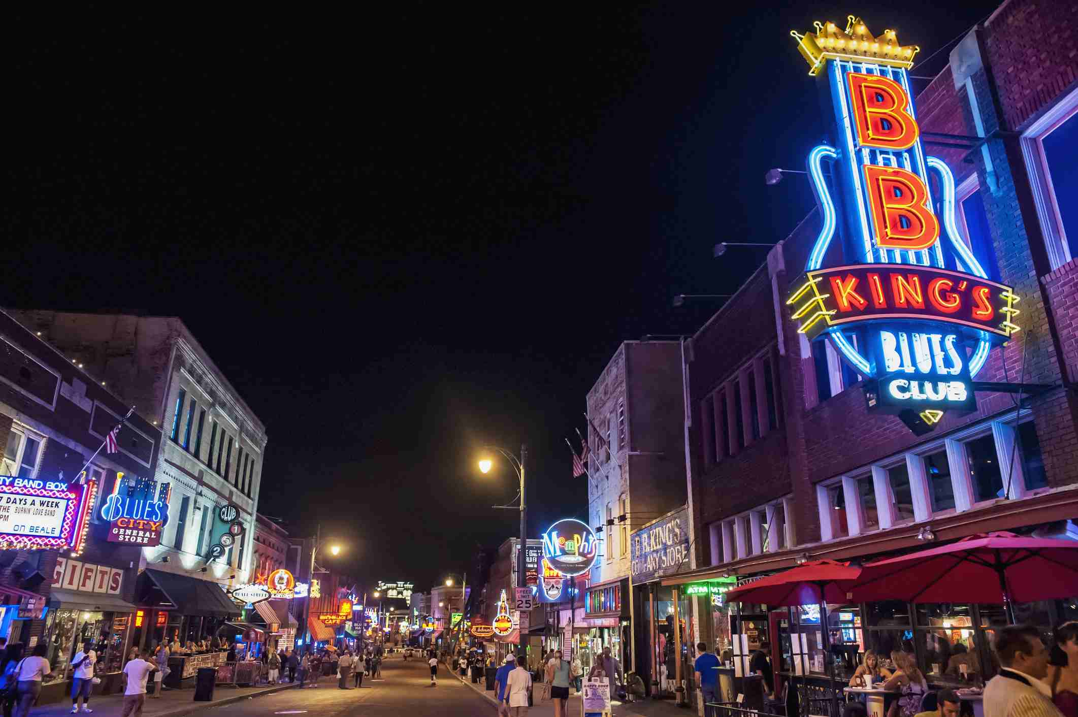 Beale Street at night in Memphis, Tennessee