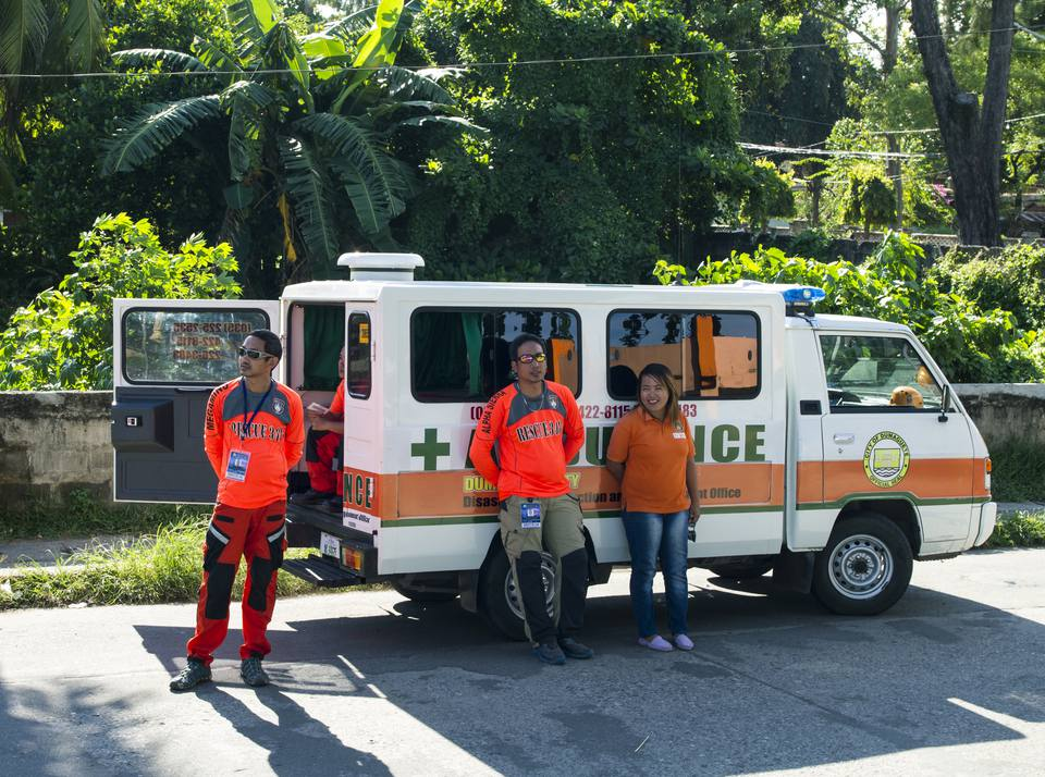 Ambulance workers on standby in Dumaguete, Philippines