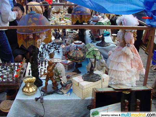A flea market table set up at the Rastro in Madrid