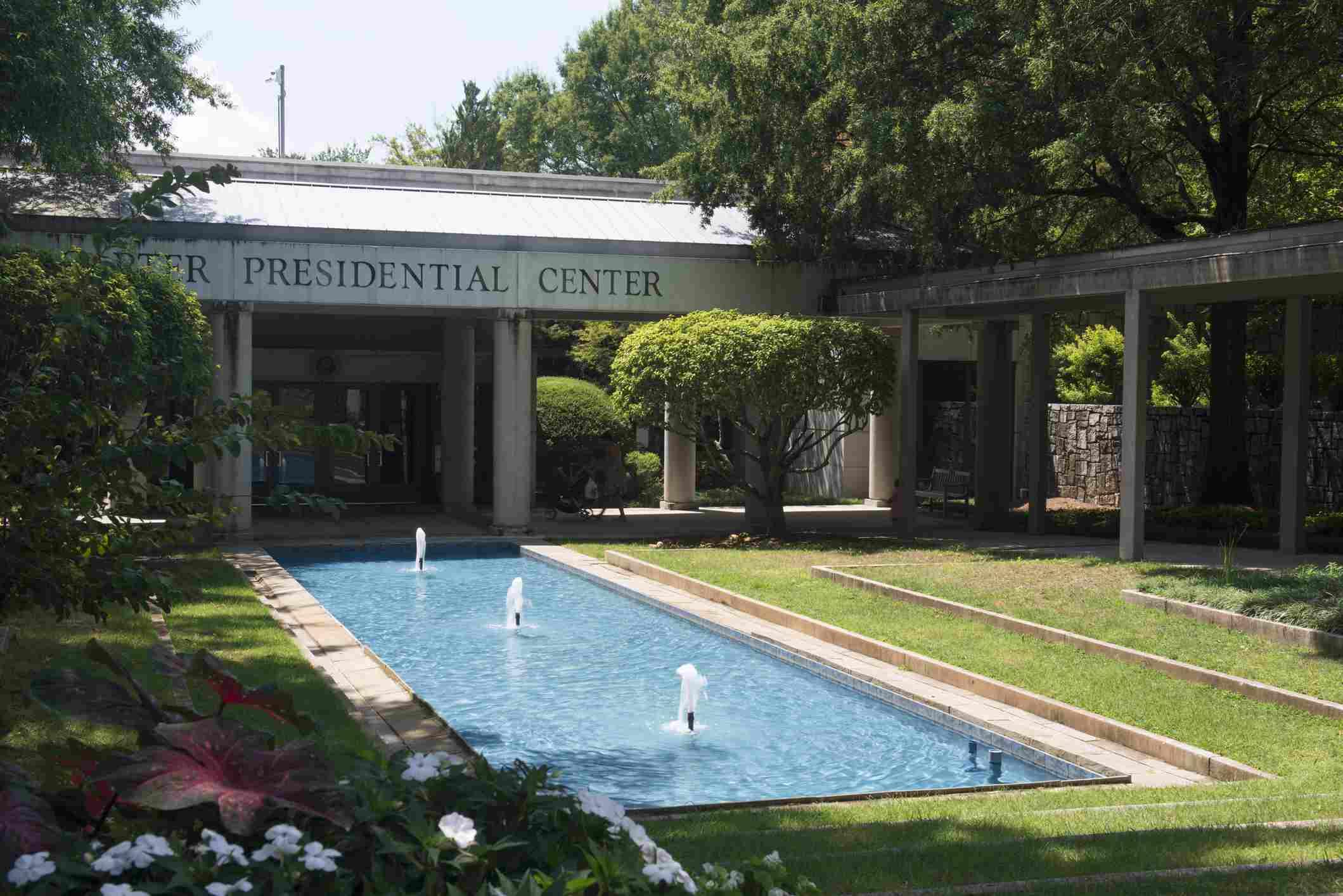 fountain pool at Jimmy Carter Presidential Center in Atlanta