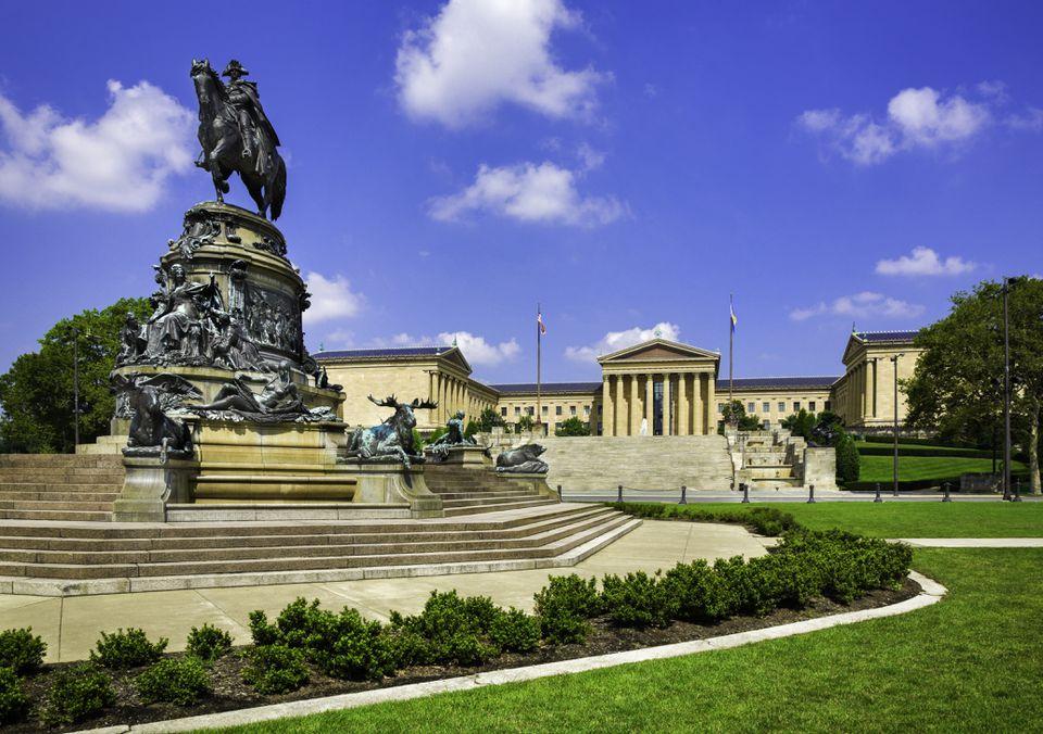Philadelphia Museum of Art, Pennsylvania, Washington Monument Statue, Eakins Oval