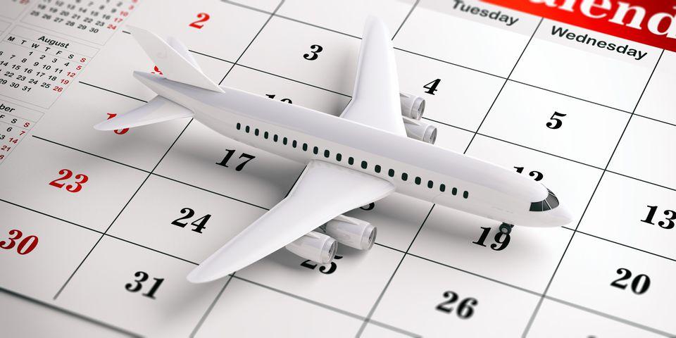 Airplane model on a calendar