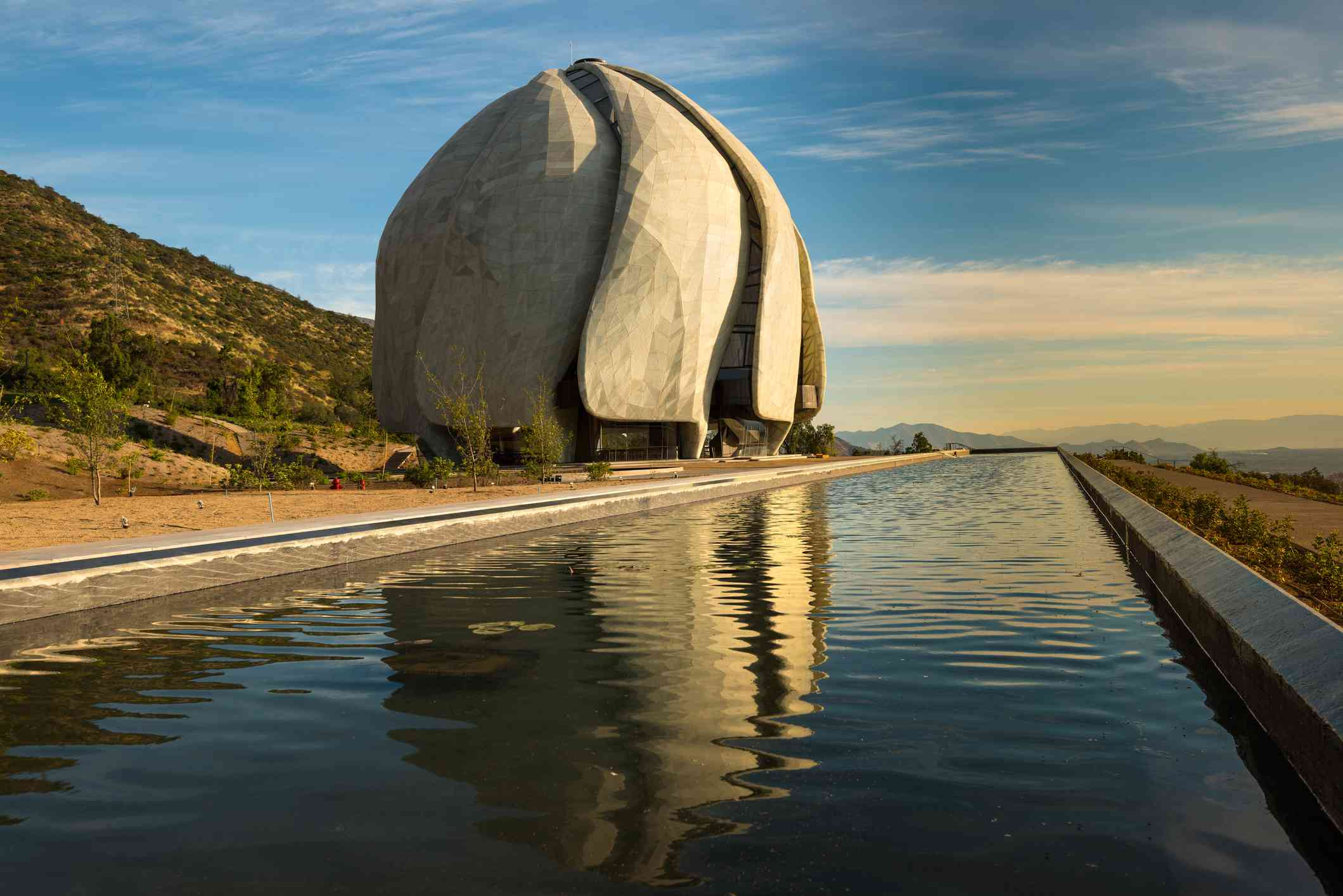 Santiago, Region Metropolitana, Chile - October 13, 2016: After 6 years of construction, today is inaugurated and opened to public the eighth Bahá'í temple in the world and first in South America, located at the foot of the Andes mountain Range.