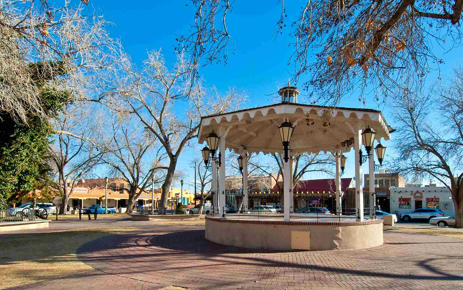 settings Wood Gazebo in Old Town, Albuquerque