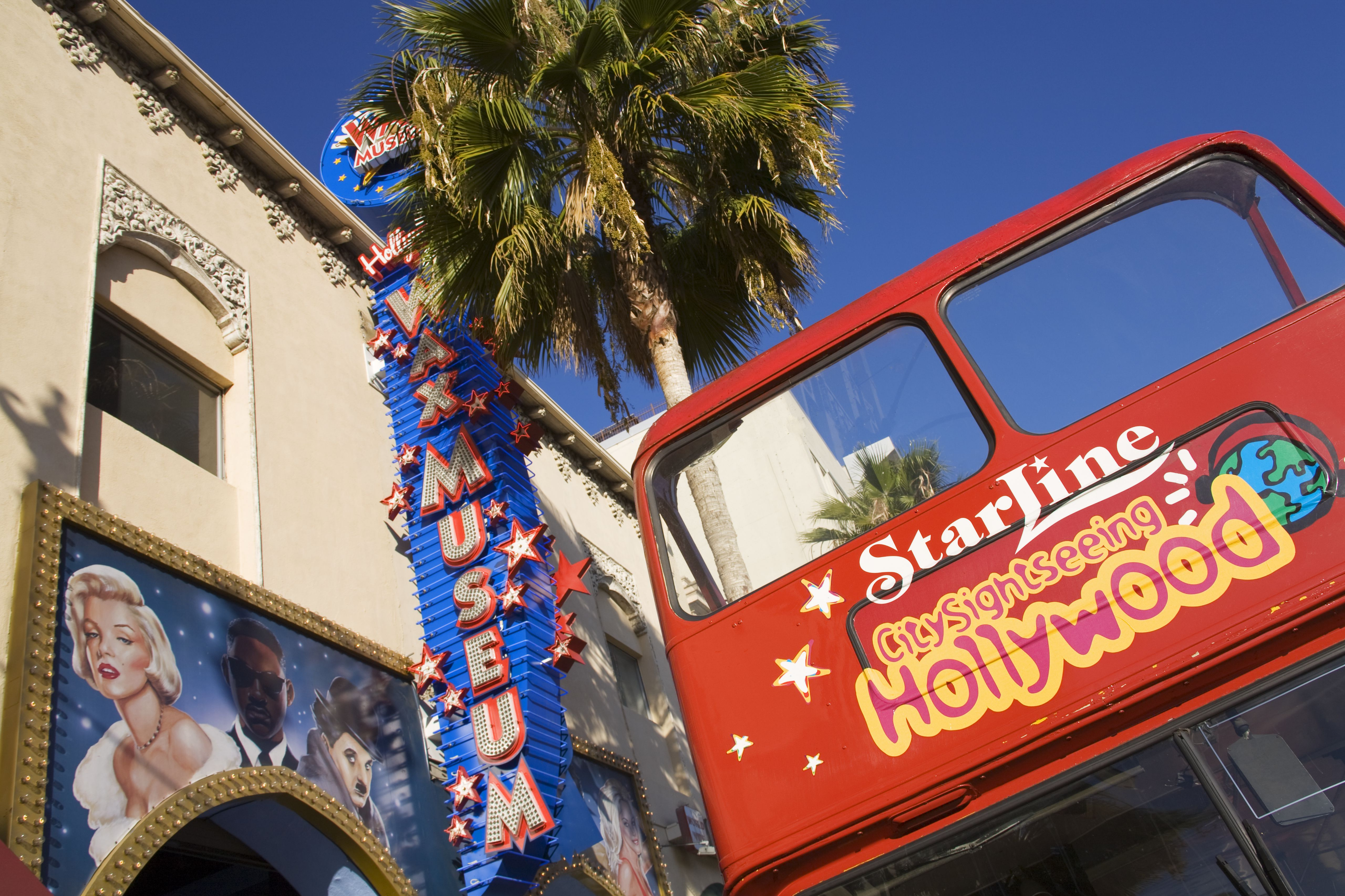 Tour Bus And Hollywood Wax Museum