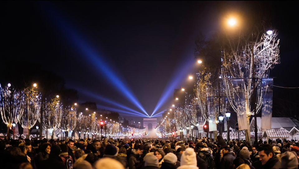 Champs Elysées Paris on New Years Eve