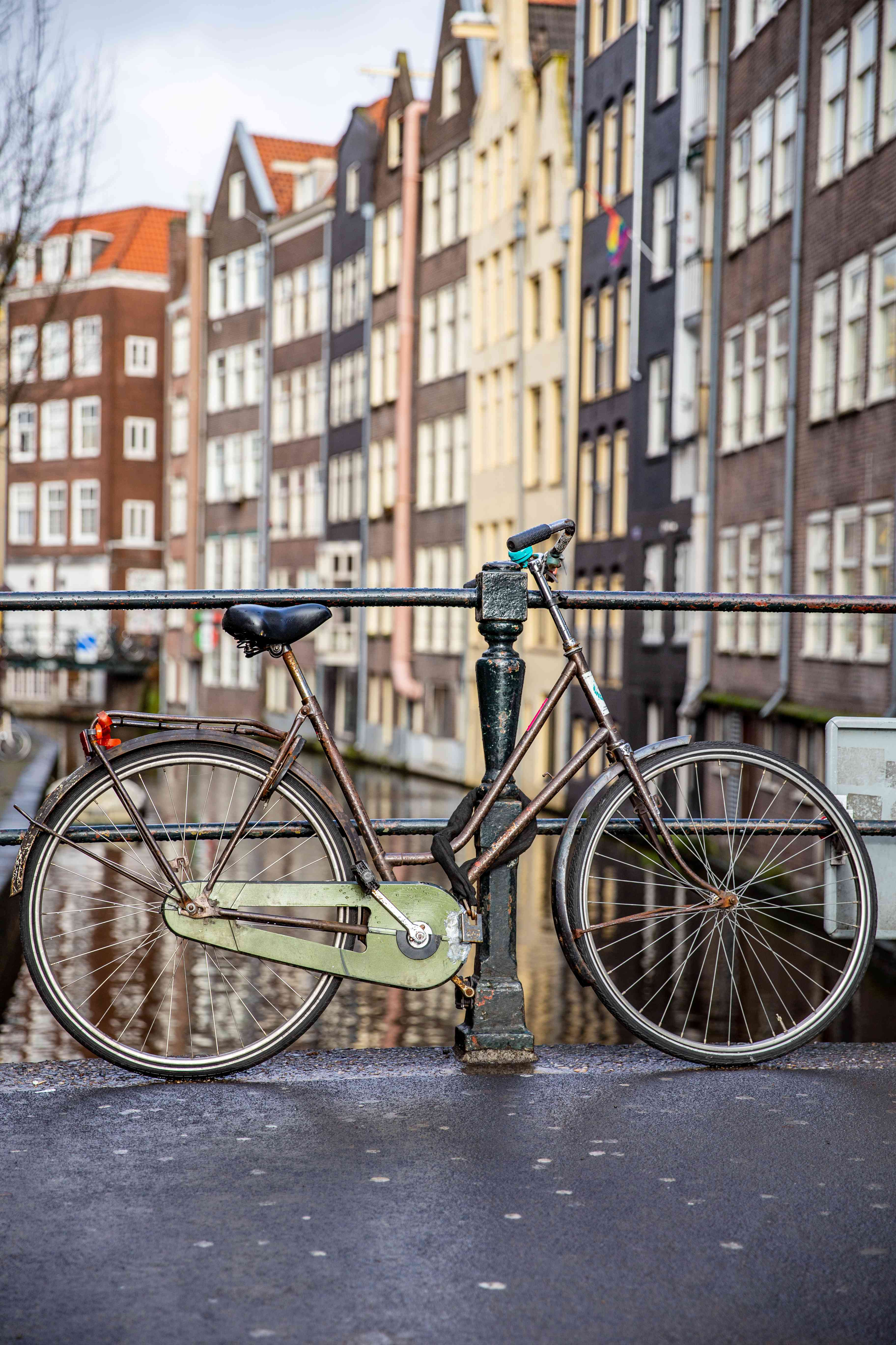 A bike by a canal in Amsterdam