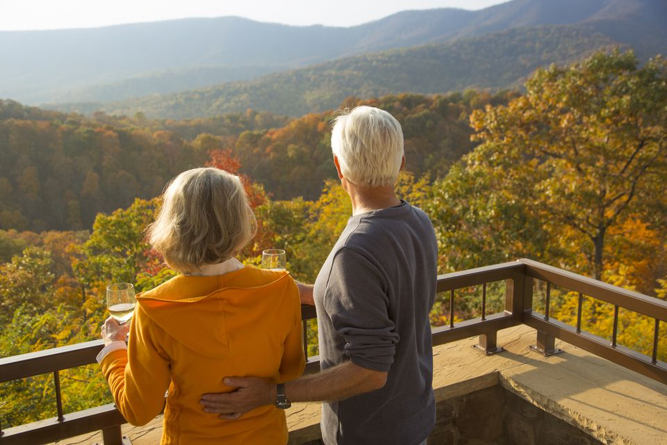 Couple enjoying wine and scenic view in Virginia