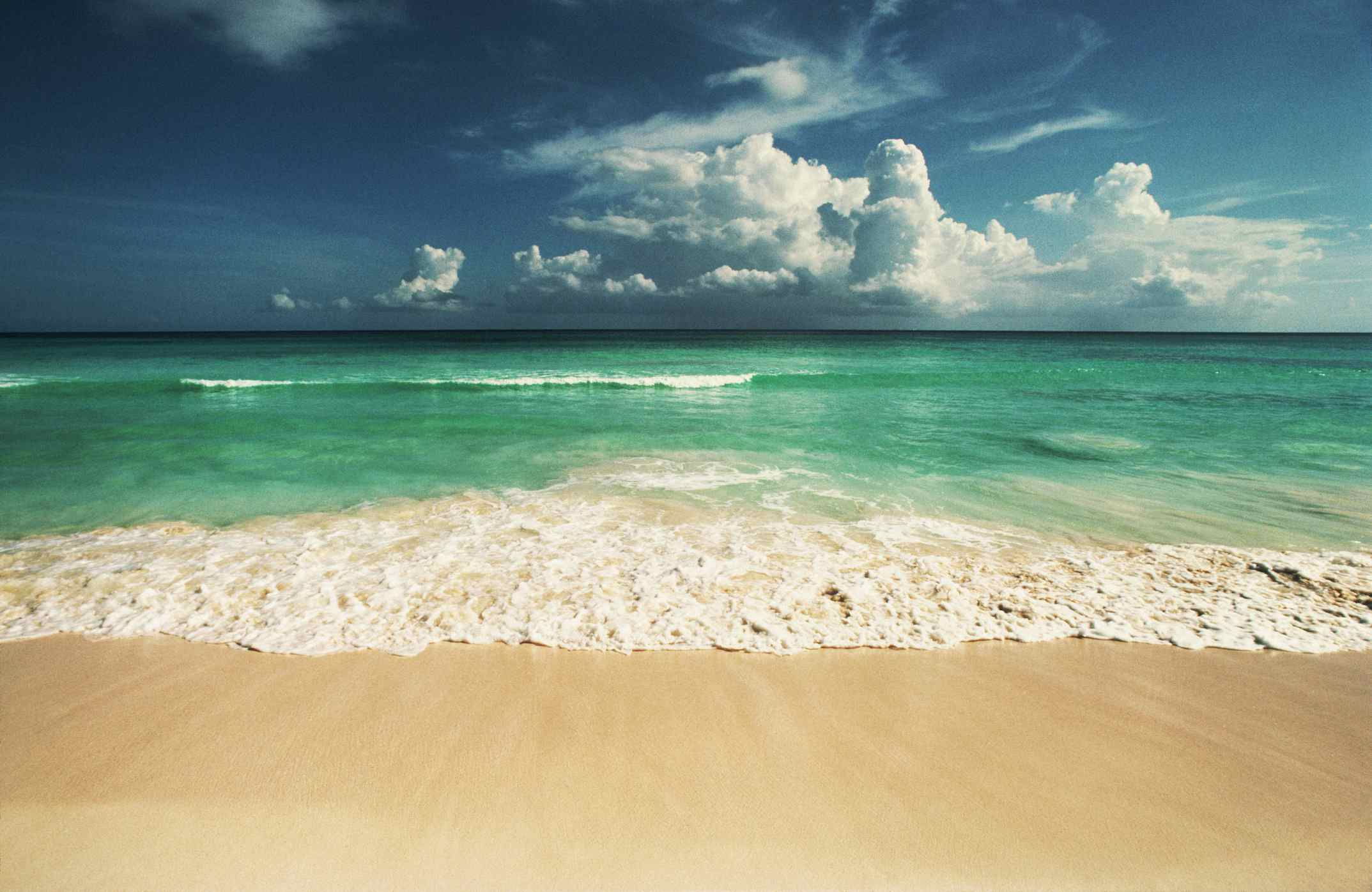 Beach with beautiful water at Playa del Carmen in Mexico