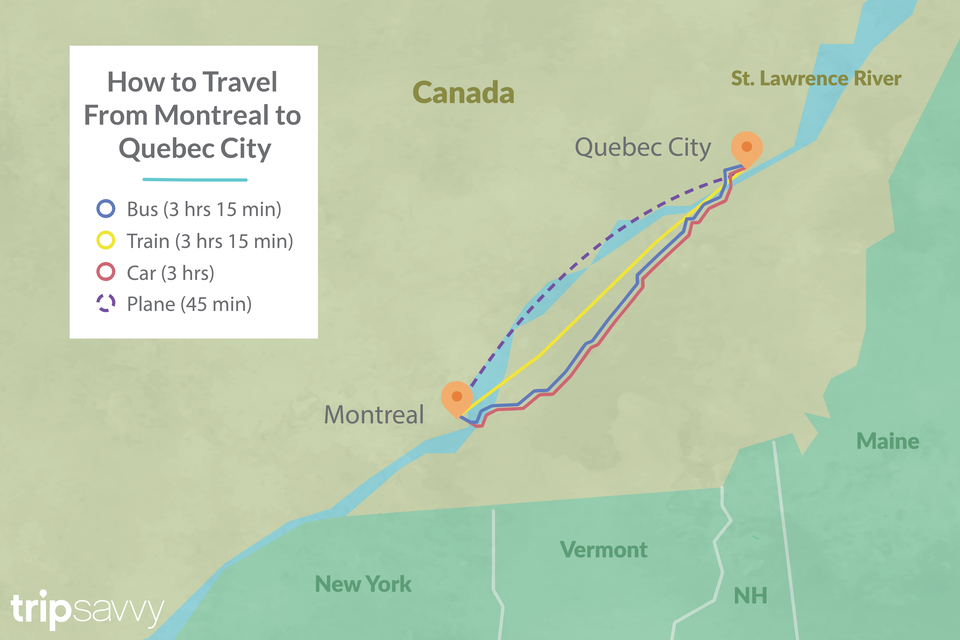 Illustrated map showing multiple travel methods of how to get between Montreal and Quebec City with corresponding travel times