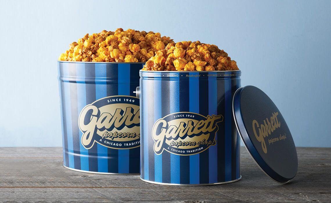 Garrett Popcorn in a tin.