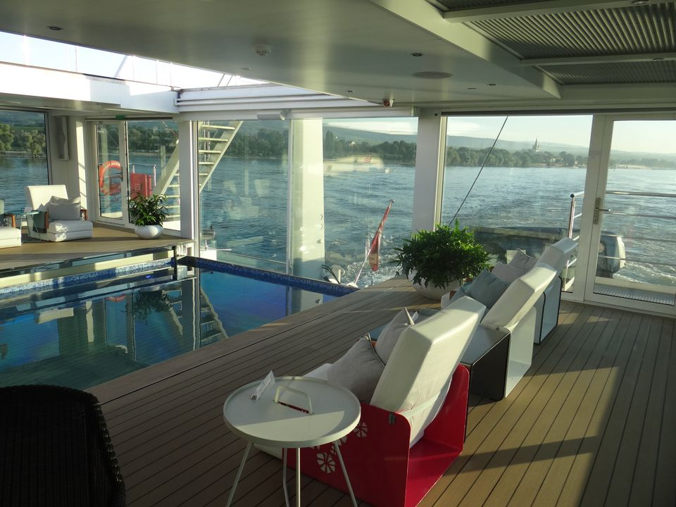 View of the swimming pool and river from the Emerald Star aft lounge