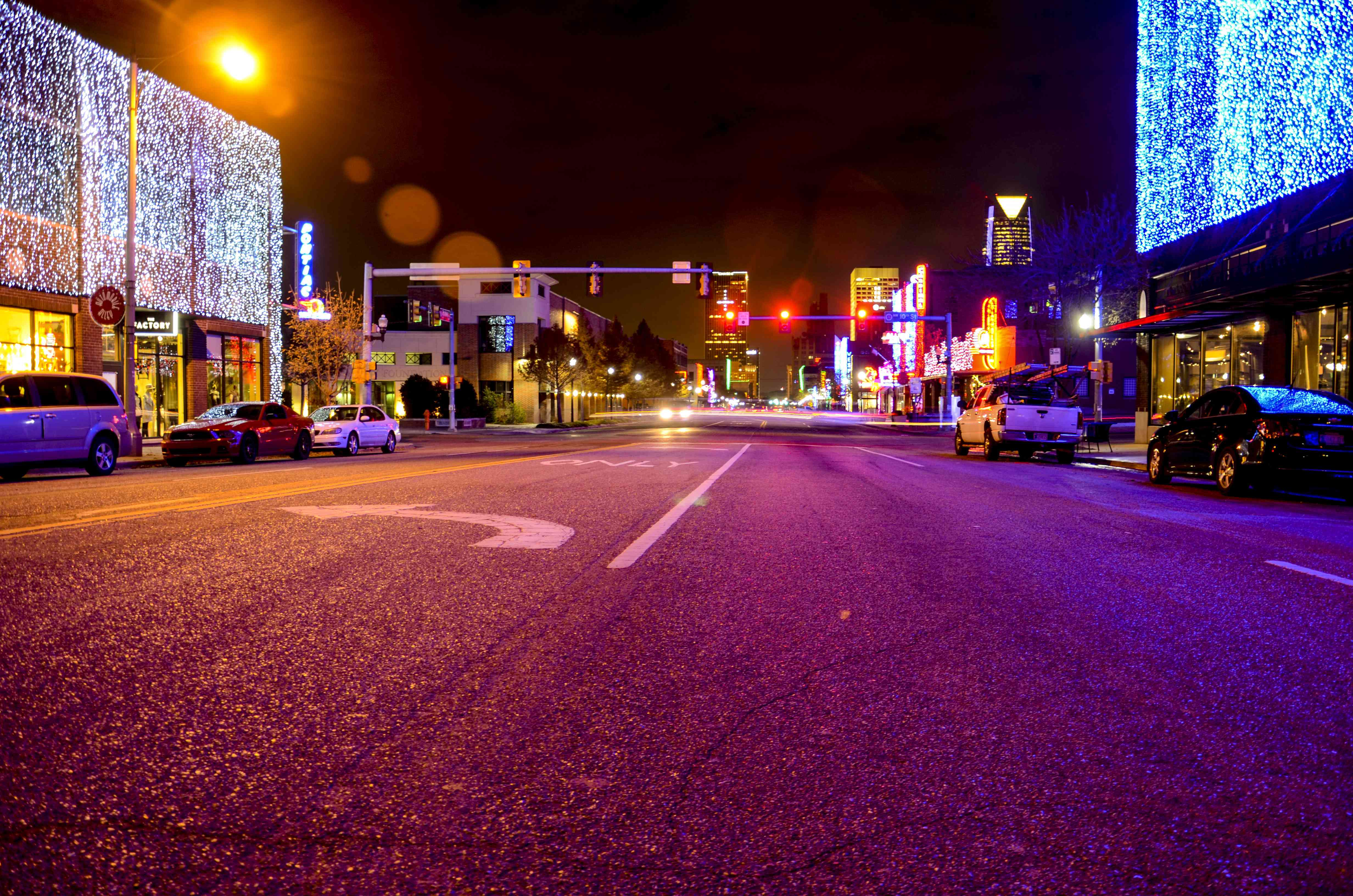 Lights sparkle during the holiday season in Automobile Alley in Oklahoma City.