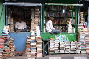 Book shops on College Street, Kolkata.