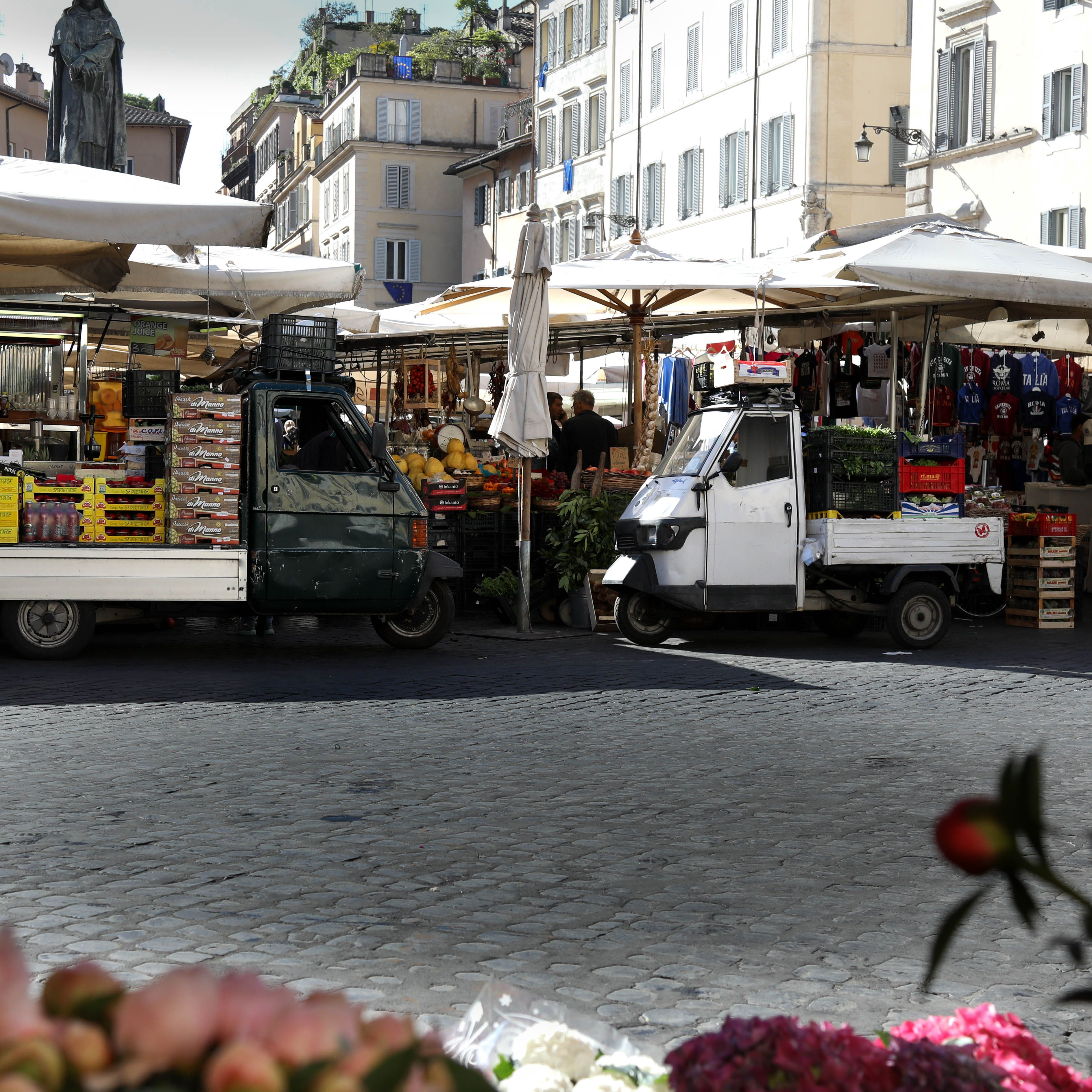 Un mercado de granjeros en Roma