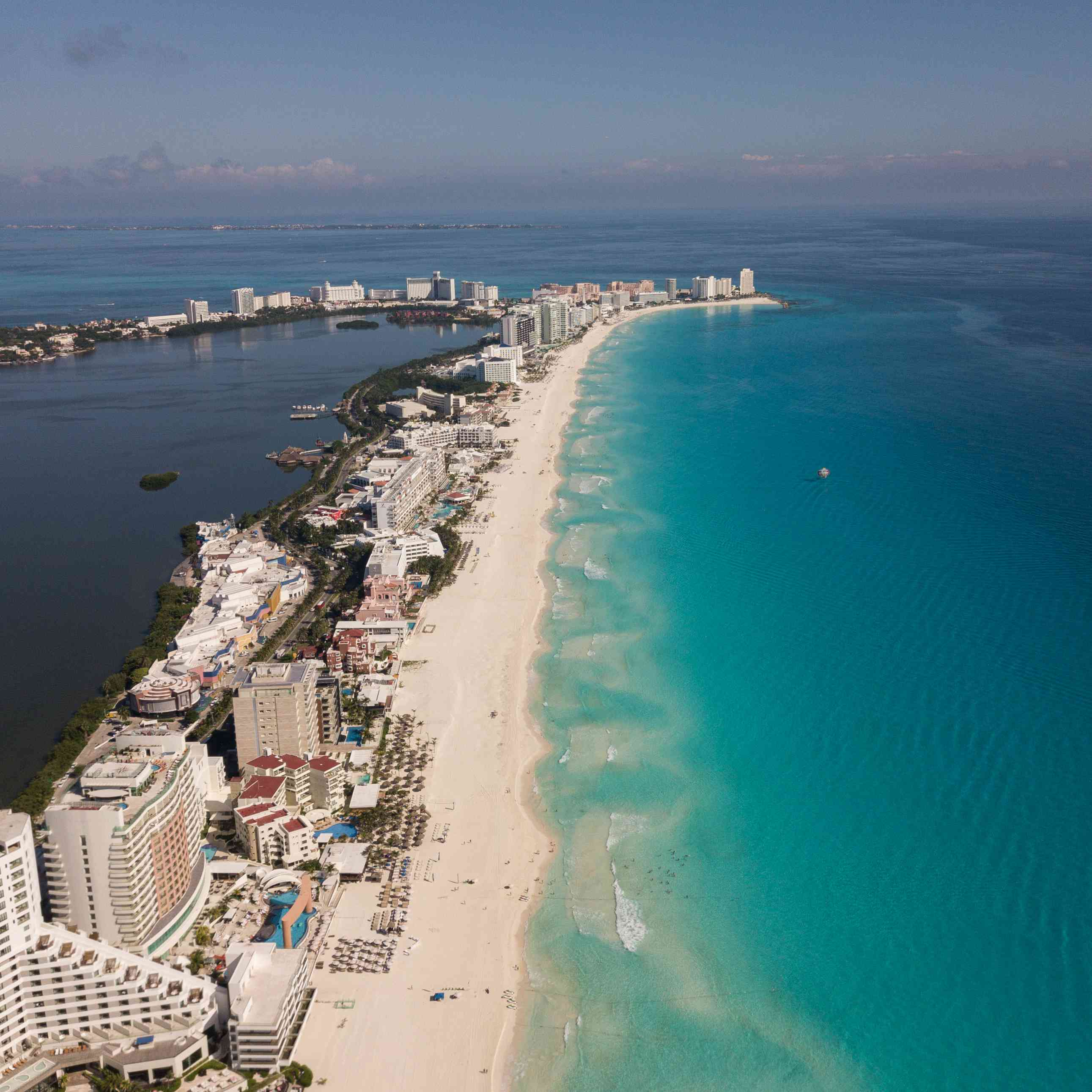 Aerial view of the east side beaches in Cancun