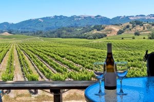Wineglass On Table Against Farm