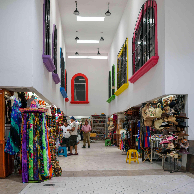 Colorful stalls at Coral Negro market