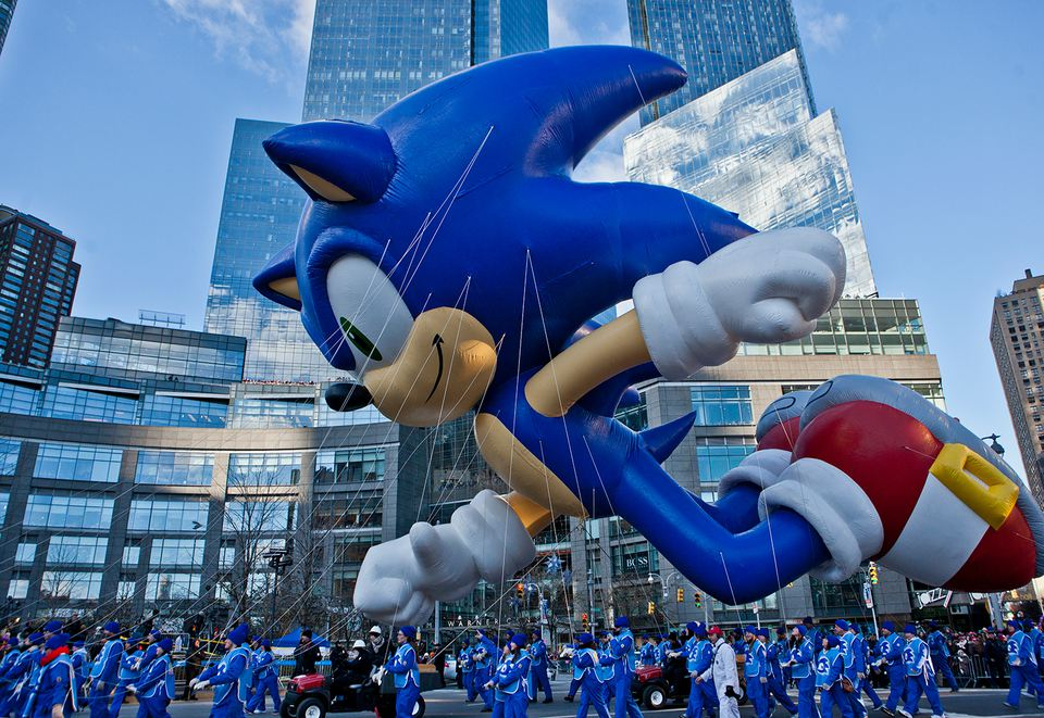 Sonic the Hedgehog at the 87th Annual Macy's Thanksgiving Day Parade, 2013.