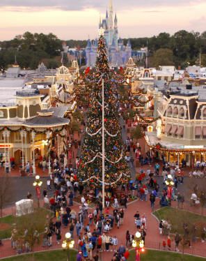 giant christmas tree main street usa magic kingdom photo courtesy of walt disney