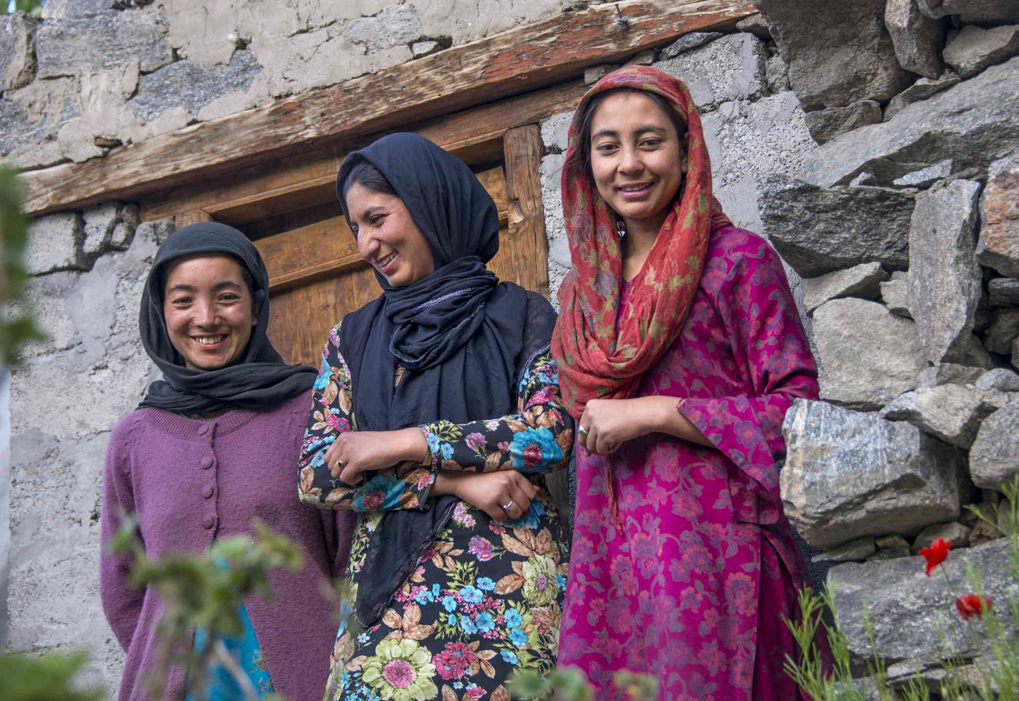 Three young women in Turtuk village. Turtuk is in Baltistan, under administration of India since 1971. Most villagers are Muslim.