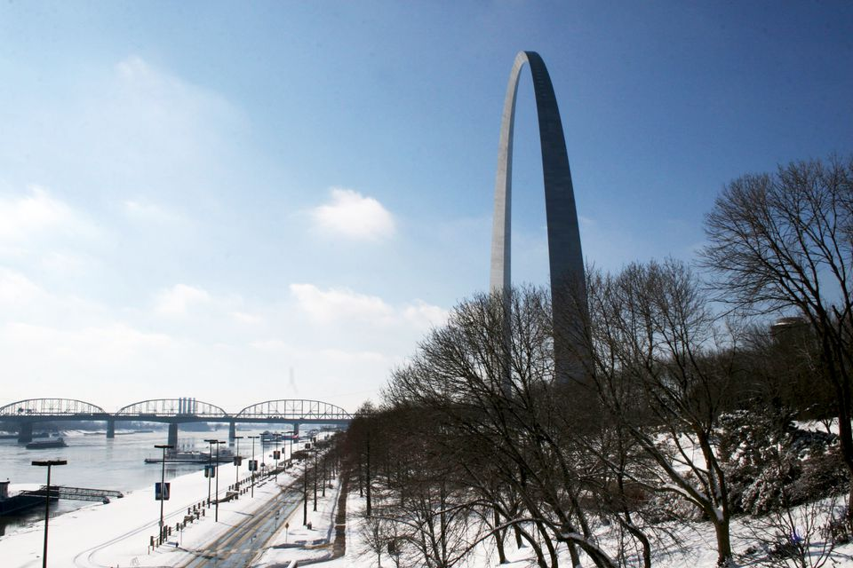 St. Louis Gateway Arch in January with snow on the ground, St. Louis Missouri