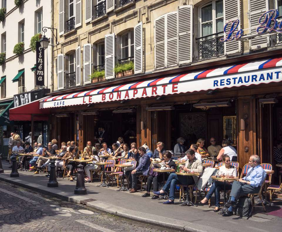 People sitting outside at a cafe in Paris