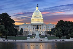 A picture of the Capitol Building at sunset