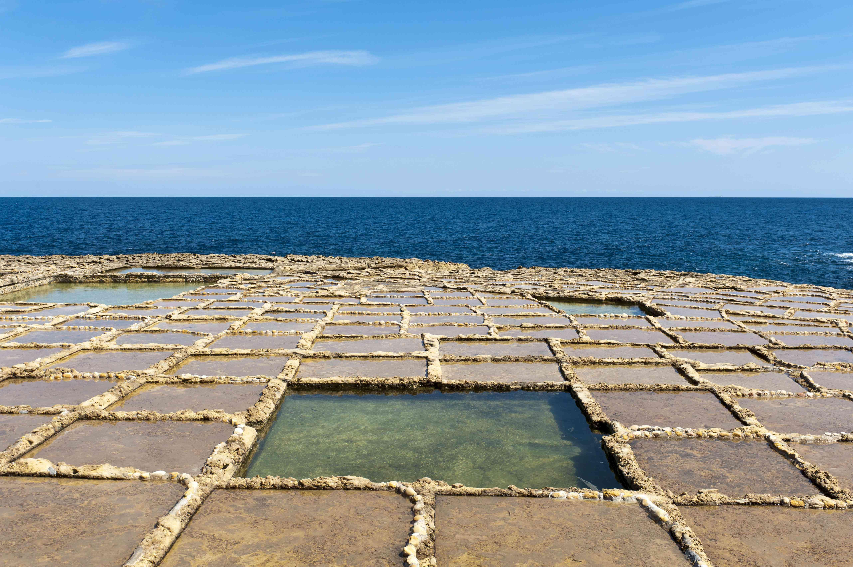 Sea salt extraction in salt pans, Xwejni Bay, Gozo, Malta