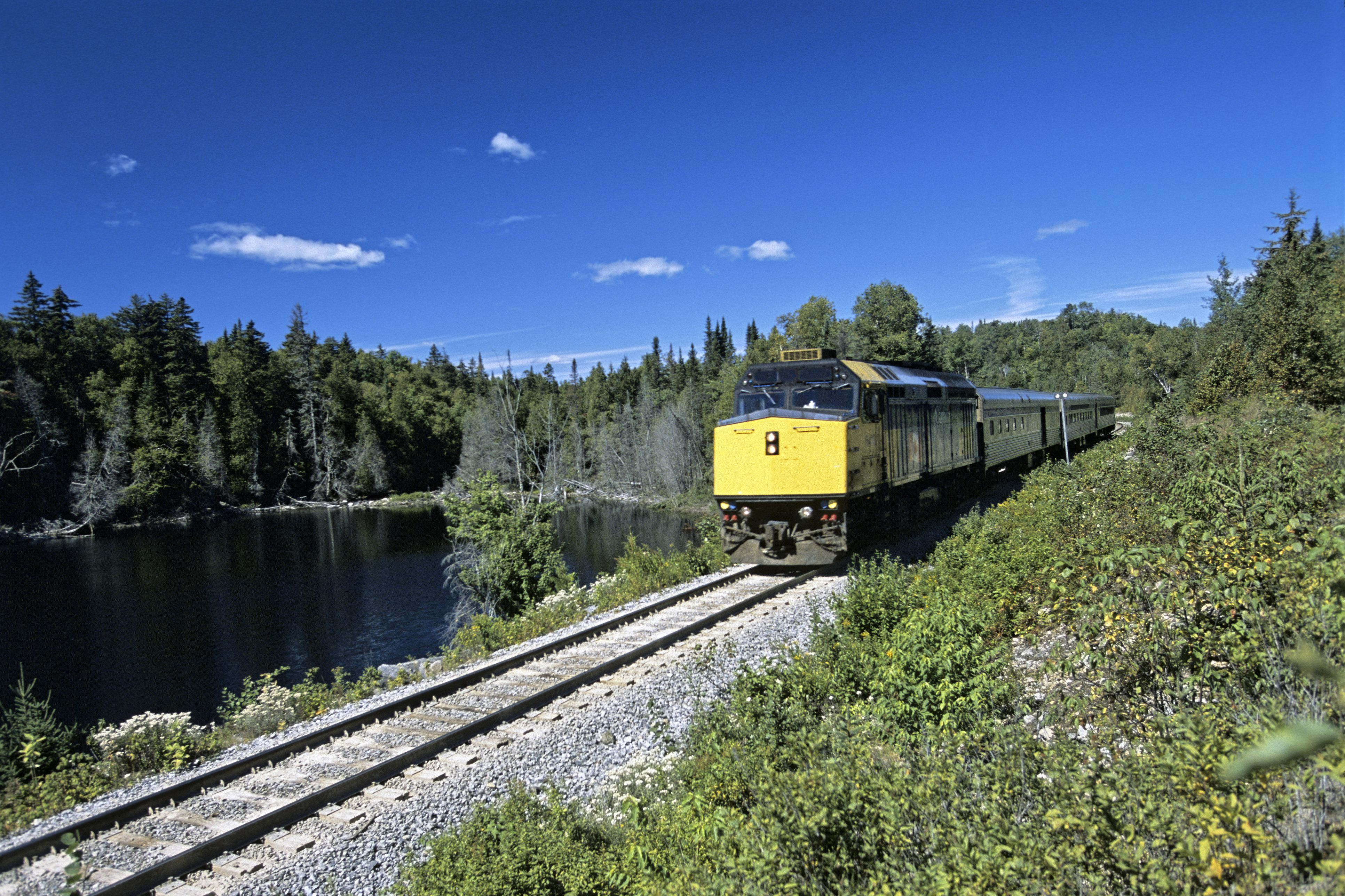 Canada, Quebec Province, near Shawinigan, Le Saguenay Train on Montreal-Jonquiere Railroad line stopping everywhere on demand