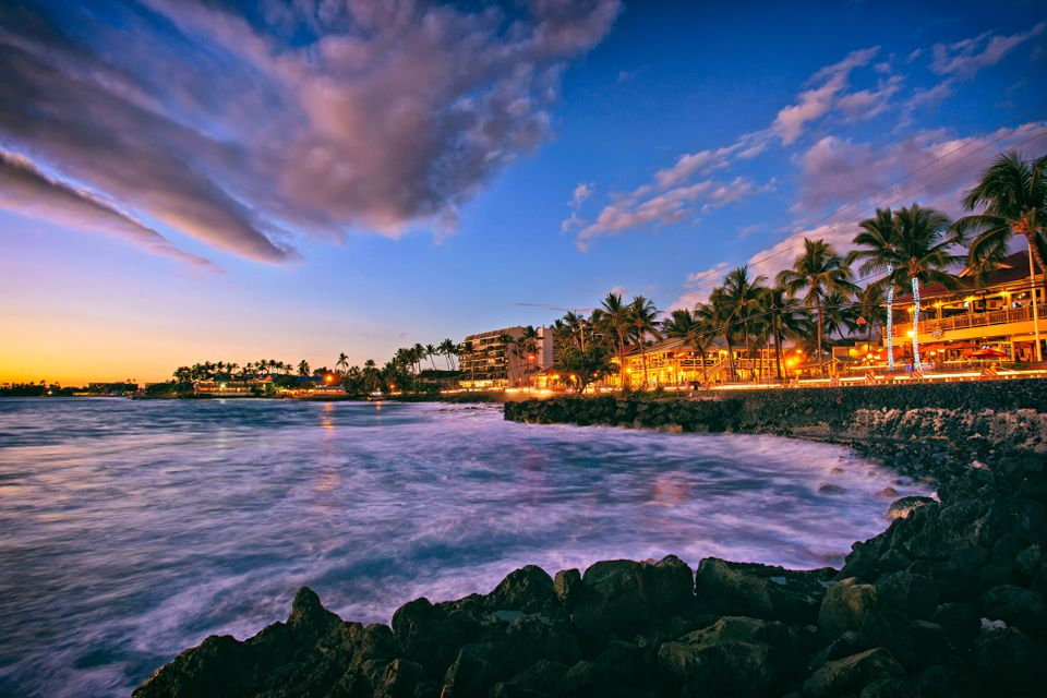 Alii Drive in the town of Kailua Kona, Hawaii