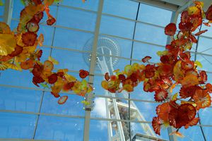View of the Space Needle from inside the Chihuly Garden and Glass museum