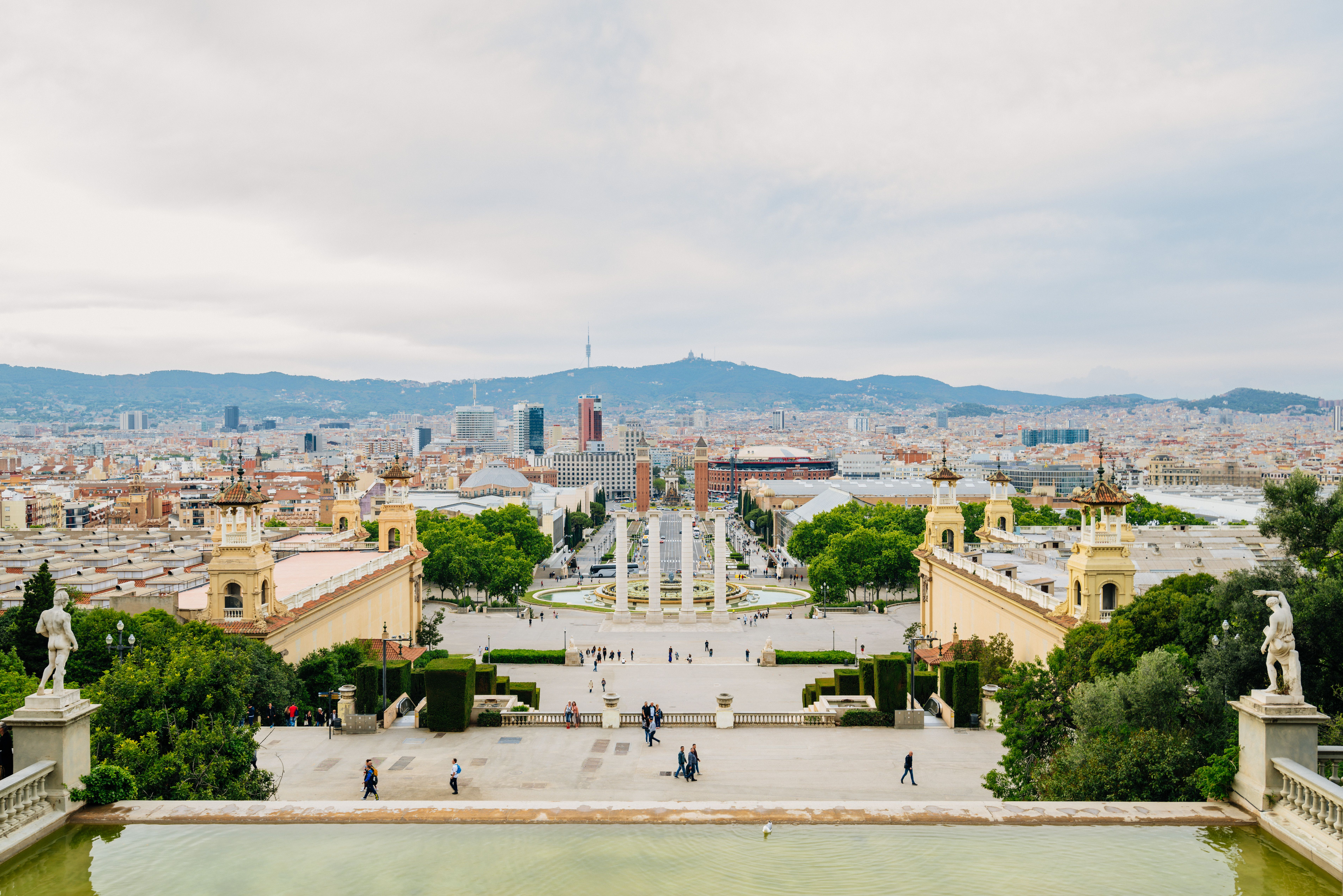 View from the national museum of art in catalonia