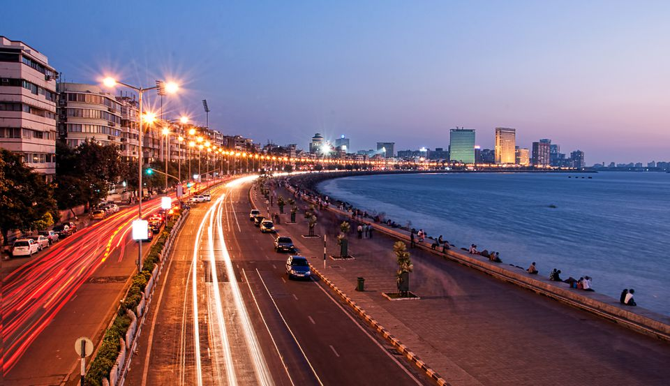 Save to Board Panoramic View of Marine Drive at dusk, Mumbai, India