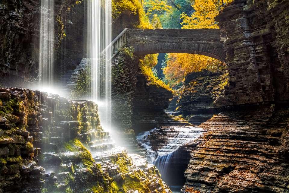 Watkins Glen State Park waterfall canyon in Upstate New York