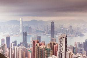 Panoramic view over Hong Kong from the highest point -Victoria Peak, Hong Kong.