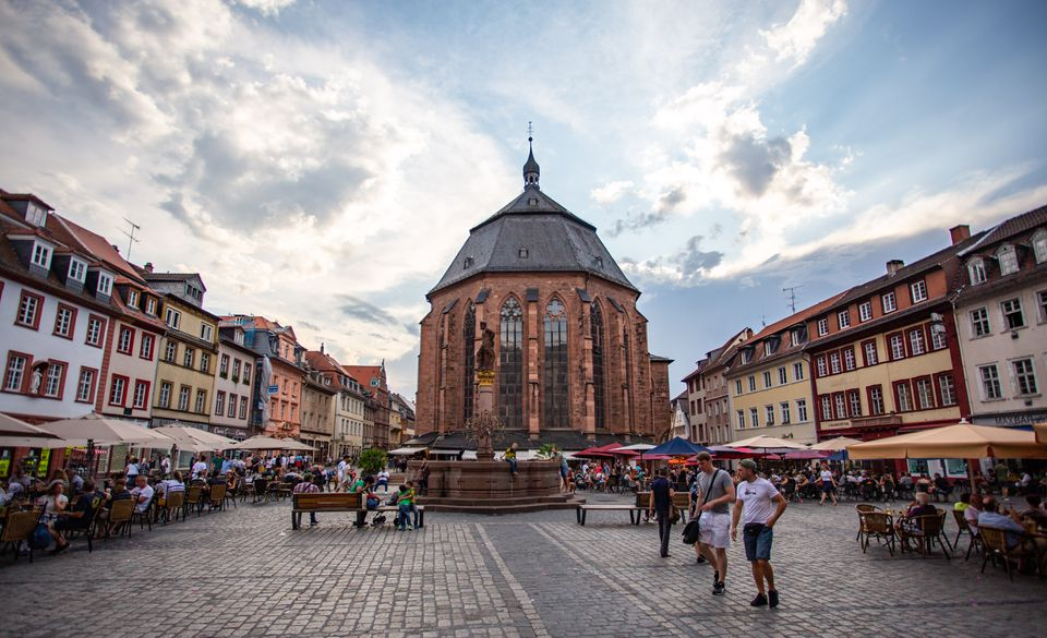 The main square in old town Heidelberg