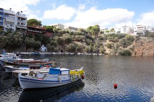 Lake in the town of Aghios Nikolaos on the Greek island of Crete