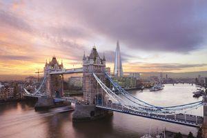 Tower Bridge at sunset in London