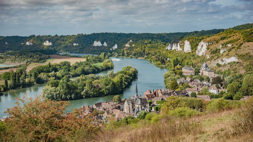 Panoramic View of the Valley of River Seine by the Town of Les Andelys, Normandie, France