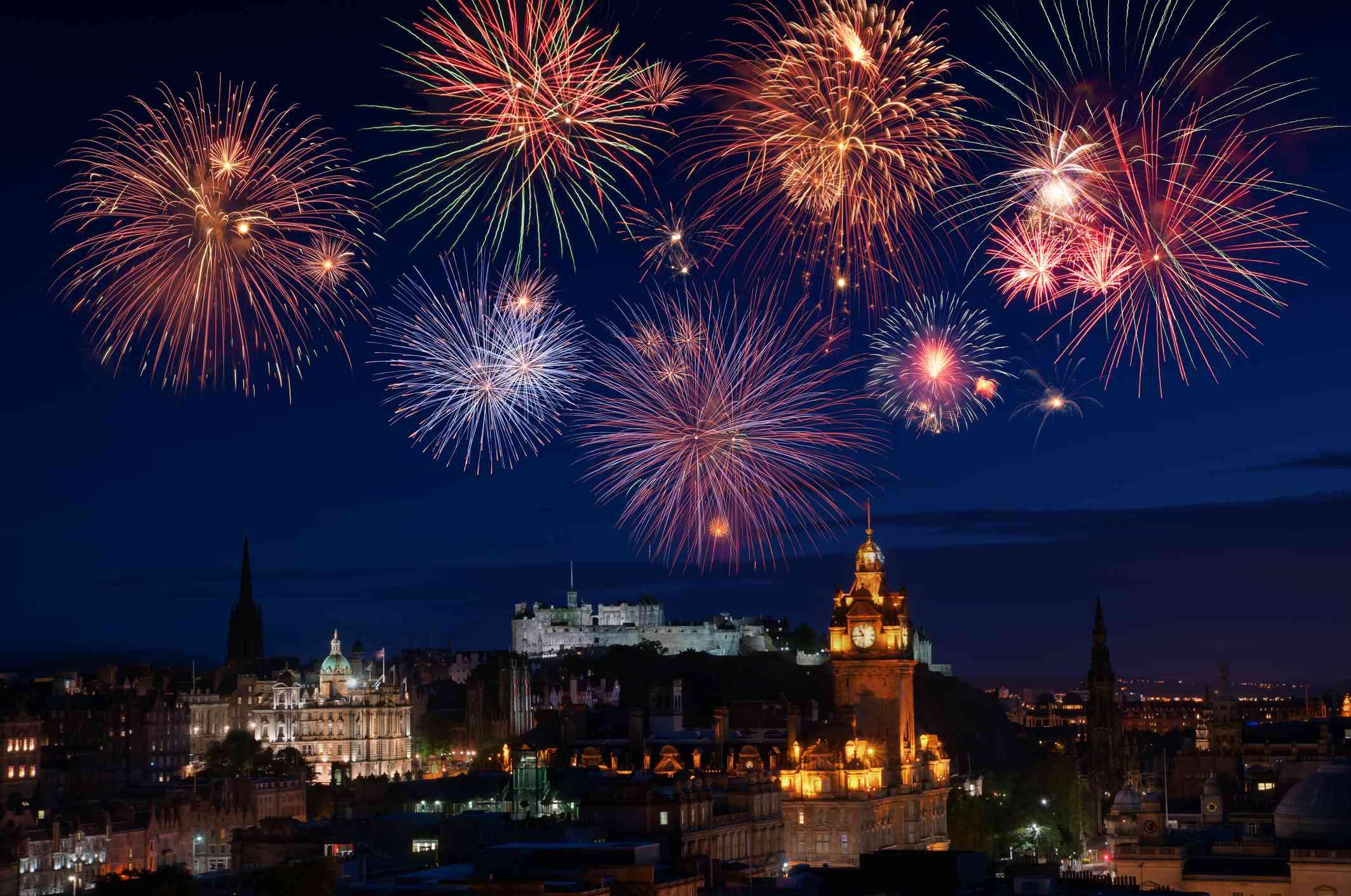 New Years fireworks over the city of Edinburgh