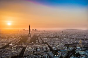 Aeriel view of Sunset in Paris France