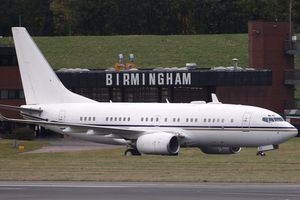 Jet plane arriving at Birmingham International Airport bringing Malala Yousefza, shot by the Taliban, for treatment.