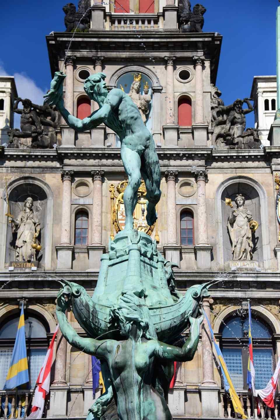 Giant's hand statue in Antwerp Belgium