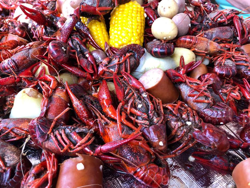 Pile of crawfish with corn