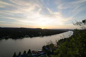 View from the top of Mount Bonnell at sunset