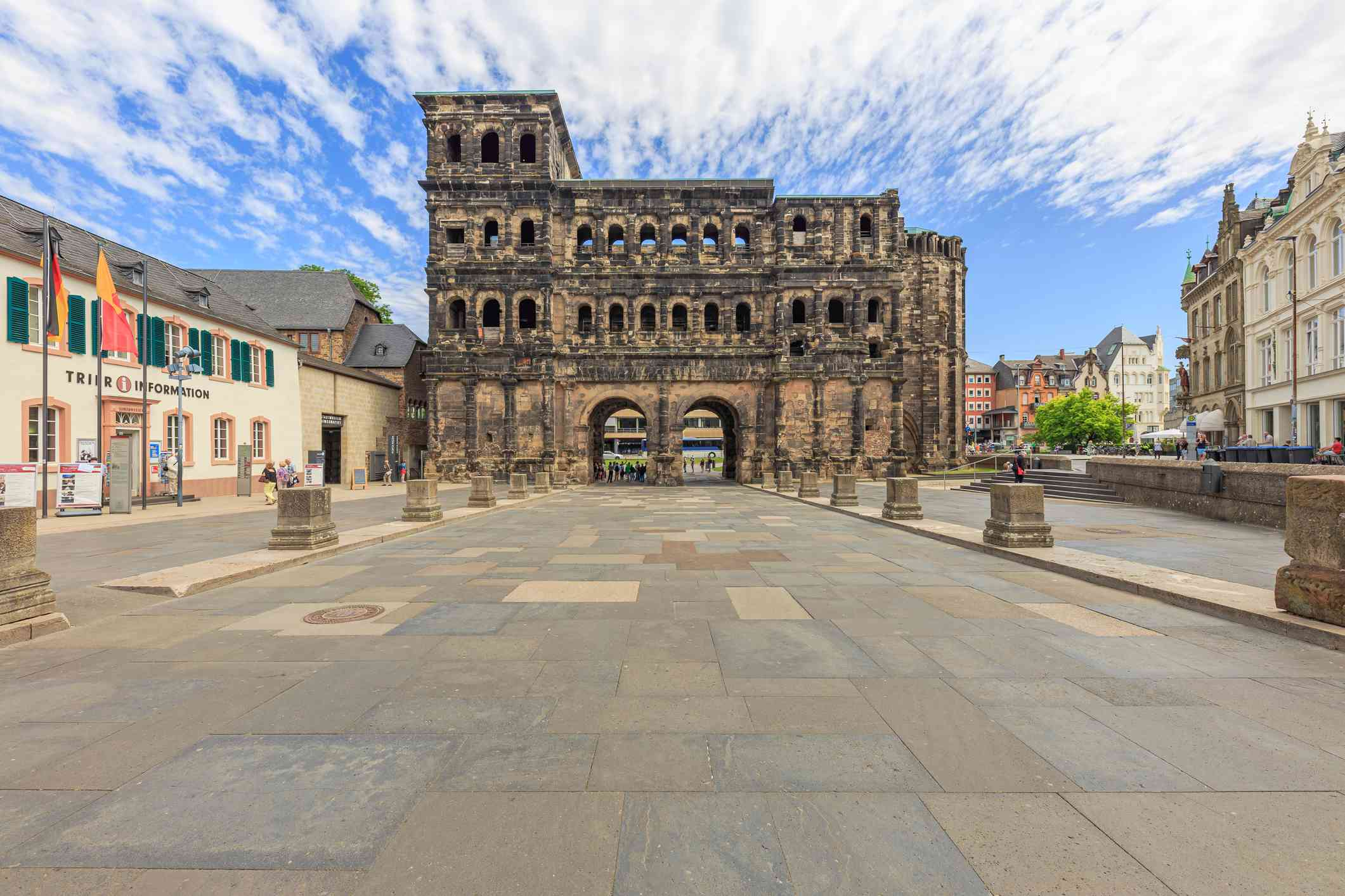 View Of Historical Building Porta Nigra Against Cloudy Sky