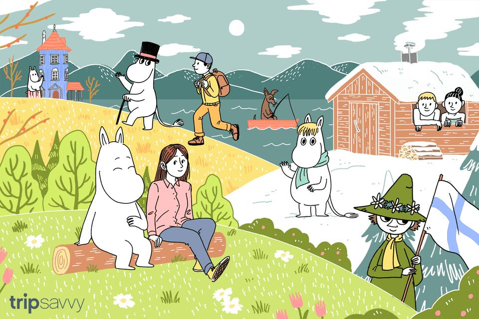 Una ilustración que representa al famoso personaje de dibujos animados finlandés Moonmin en diferentes escenas finales